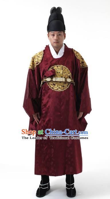 Asian Korean Traditional Costume Ancient Palace King Bridegroom Red Hanbok for Men