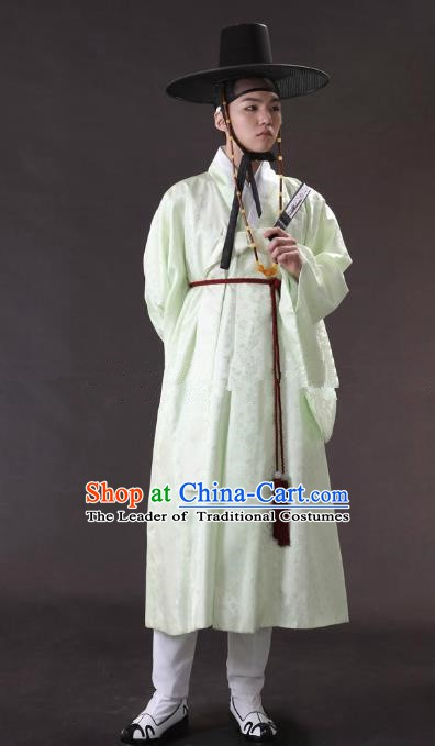Asian Korean Traditional Costume Ancient Nobility Childe Bridegroom Green Hanbok for Men