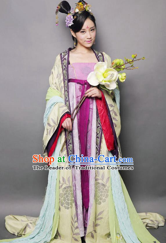 Chinese Ancient Palace Lady Tang Dynasty Princess Embroidered Mullet Dress Historical Costume for Women
