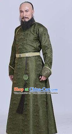 Traditional Chinese Ancient Qing Dynasty Protectorship Minister Aobai Costume for Men