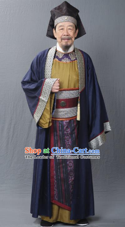 Traditional Chinese Ancient Ming Dynasty Ministers Punishments Bai Qiansong Costume for Men