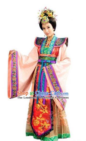 Chinese Ancient Ming Dynasty Imperial Concubine Wan of Chenghua Embroidered Dress Costume for Women