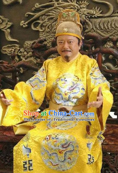 Traditional Chinese Ancient Ming Dynasty First Emperor Zhu Yuanzhang Costume for Men