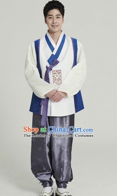 Asian Korean Traditional Costumes Ancient Korean Hanbok Bridegroom White Vest and Grey Pants for Men