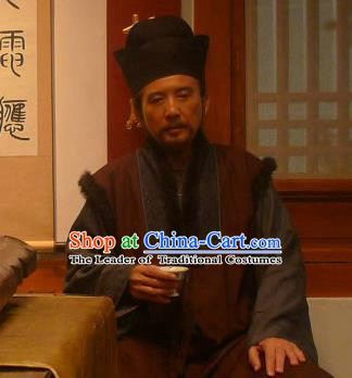 Chinese Ancient Ming Dynasty Minister Milord Qian Qianyi Replica Costume for Men