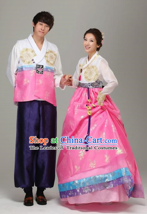 Asian Korean Traditional Costumes Ancient Korean Pink Hanbok Bride and Bridegroom Wedding Costumes Complete Set