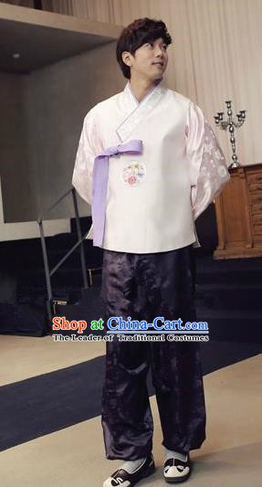 Traditional Korean Costumes Ancient Korean Male Hanbok Bridegroom White Vest and Purple Pants for Men