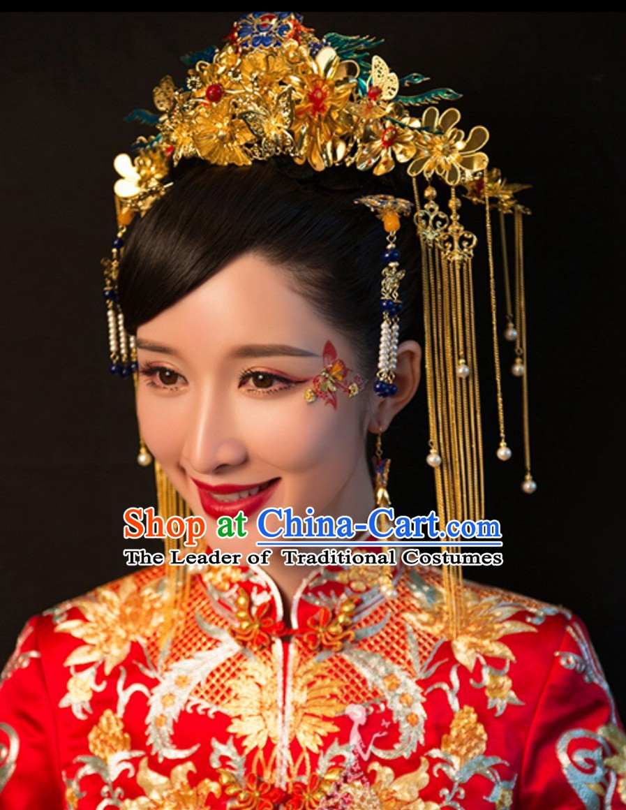 Chinese Classical Empress Phoenix Wedding Bridal Hair Accessories Complete Set