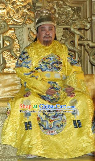Chinese Ancient Ming Dynasty Imperial Robe Emperor Replica Costume for Men