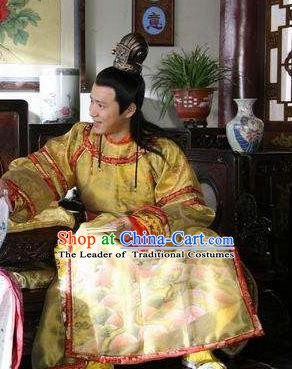 Chinese Ancient Ming Dynasty Imperial Robe Emperor Zhu Yijun Replica Costume for Men