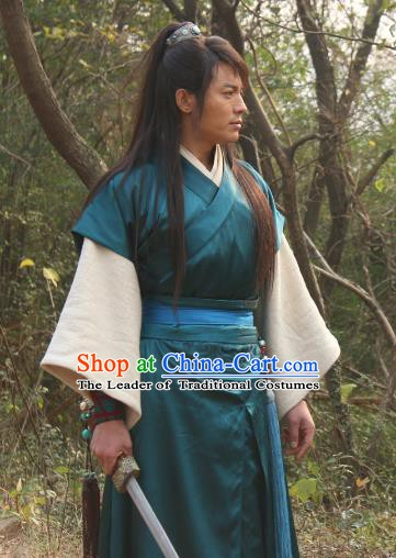 Chinese Ancient Ming Dynasty Swordsman Knight-errant Replica Costume for Men