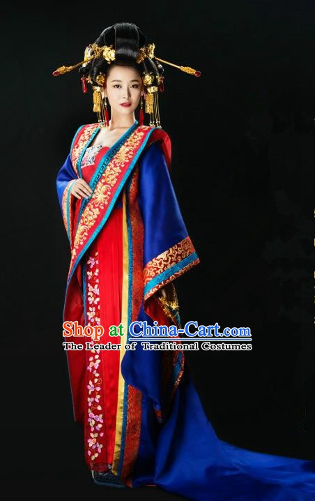 Ancient Chinese Song Dynasty Imperial Empress Hanfu Dress Palace Embroidered Replica Costume for Women