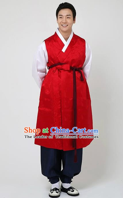 Traditional Korean Costumes Ancient Korean Bridegroom Hanbok Red Vest and Navy Pants for Men