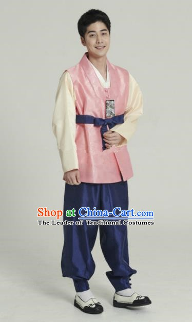 Traditional Korean Costumes Ancient Korean Bridegroom Hanbok Pink Vest and Navy Pants for Men