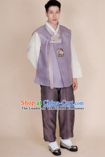 Traditional Korean Costumes Ancient Korean Bridegroom Hanbok Lilac Vest and Purple Pants for Men