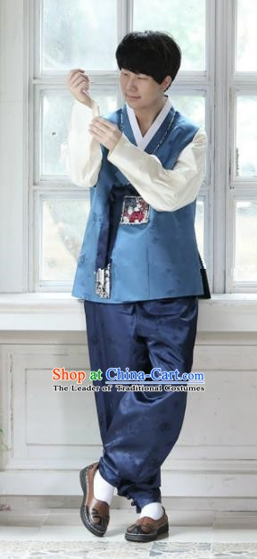 Traditional Korean Costumes Ancient Palace Korean Bridegroom Hanbok Blue Vest and Navy Pants for Men