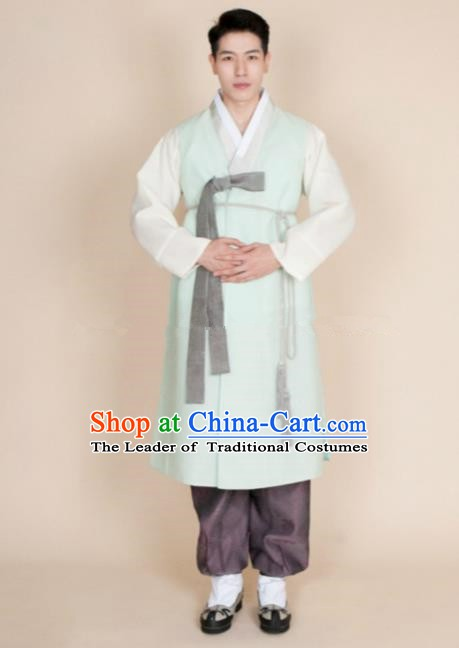 Traditional Korean Costumes Ancient Palace Korean Bridegroom Hanbok Green Vest and Purple Pants for Men