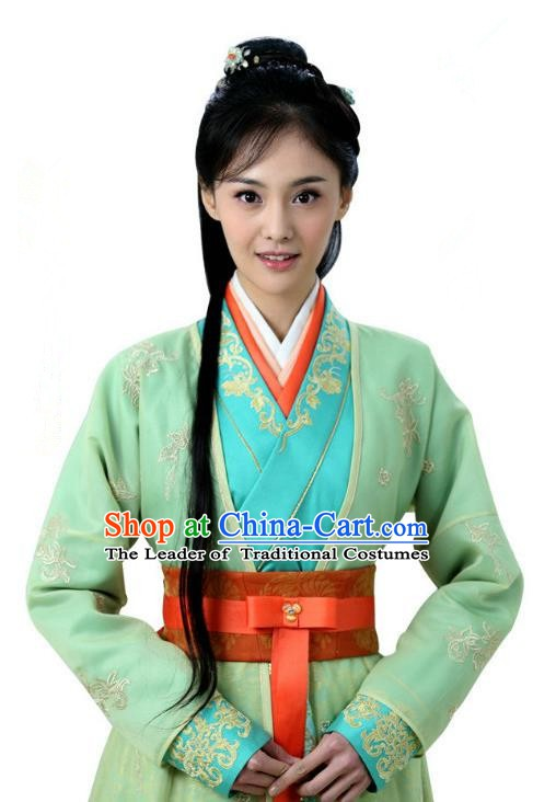 Ancient Chinese Song Dynasty Palace Princess Embroidered Green Dress Replica Costume for Women