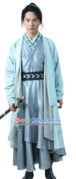 Ancient Chinese Song Dynasty Swordsman Embroidered Replica Costume for Men