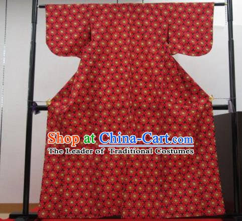 Japan Ancient Palace Red Furisode Kimonos Traditional Yukata Dress Formal Costume for Women