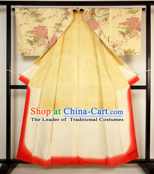 Japan Ancient Palace Yellow Furisode Kimonos Traditional Yukata Dress Formal Costume for Women