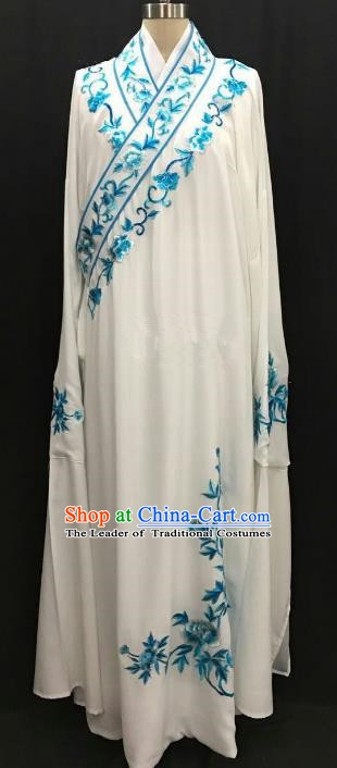 China Traditional Beijing Opera Niche Embroidered Peony White Robe Chinese Peking Opera Gifted Scholar Costume