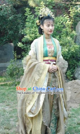 Chinese Song Dynasty Imperial Consort Dress Ancient Palace Lady Hanfu Replica Costume and Headpiece Complete Set for Women