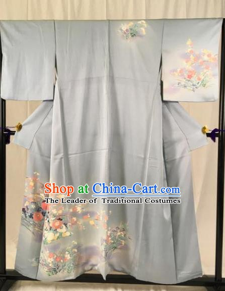 Japan Ancient Grey Furisode Kimonos Traditional Palace Yukata Dress Formal Costume for Women
