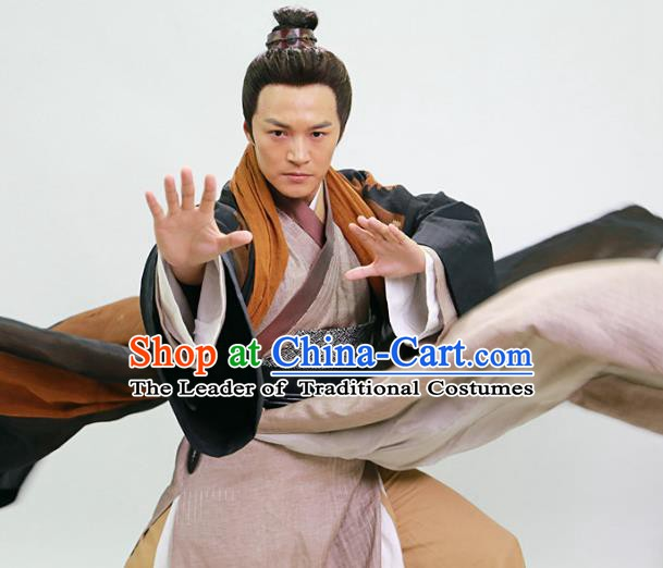 Chinese Song Dynasty Swordsman Guo Jing Clothing Ancient Knight-errant Hanfu Replica Costume for Men