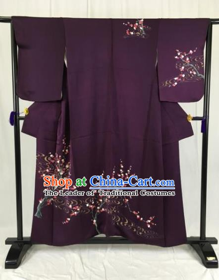 Japan Ancient Purple Furisode Kimonos Traditional Palace Yukata Dress Formal Costume for Women