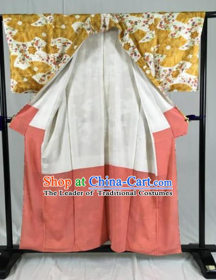 Japan Ancient Geisha Furisode Kimonos Traditional Palace Yukata Dress Formal Costume for Women