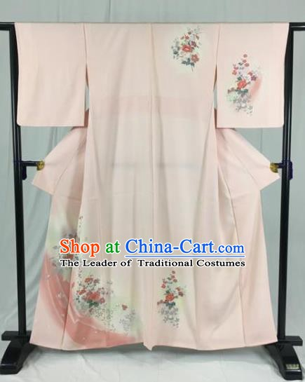 Japan Ancient Geisha Pink Furisode Kimonos Traditional Palace Yukata Dress Formal Costume for Women