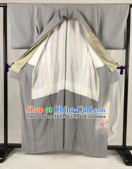Japanese Ancient Samurai Kimono Grey Yukata Robe Traditional Wafuku Hakama Haori Clothing for Men