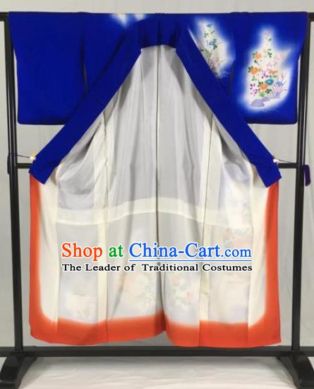 Japan Traditional Kimono Blue Furisode Kimono Ancient Yukata Dress Formal Costume for Women