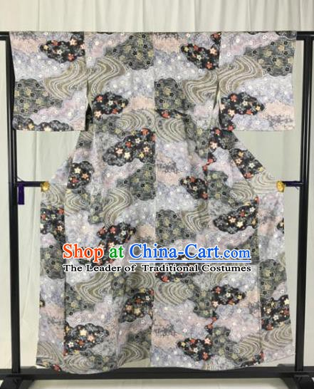 Japan Traditional Formal Costume Grey Furisode Kimonos Ancient Palace Yukata Dress for Women