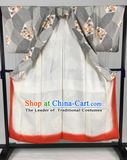 Japanese Traditional Grey Kimono Ancient Samurai Yukata Robe Wafuku Hakama Haori Clothing for Men