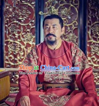 Chinese Song Dynasty Emperor Zhao Kuangyin Clothing Ancient Imperator Embroidered Replica Costume for Men