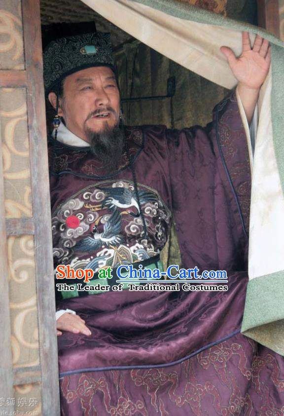 Chinese Song Dynasty Politician Wang Anshi Clothing Ancient Litterateur Replica Costume for Men