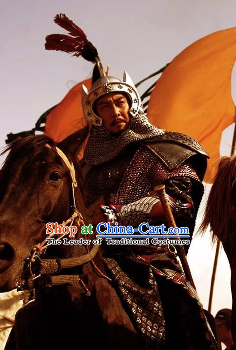 Ancient Chinese Western Xia Regime Emperor Li Yuanhao Replica Costume Helmet and Armour for Men