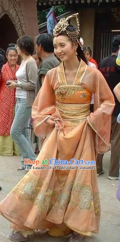 Chinese Ancient Song Dynasty Khotan Kingdom Princess Embroidered Dress Replica Costume for Women