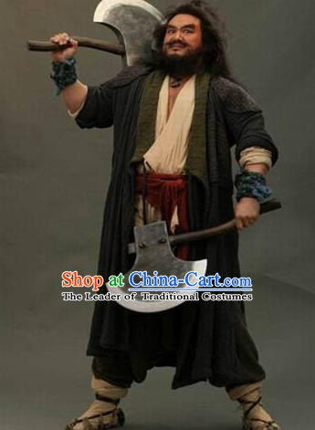 Chinese Ancient Novel Water Margin Character Li Kui Costume Song Dynasty Mount Liang Hero Replica Costume