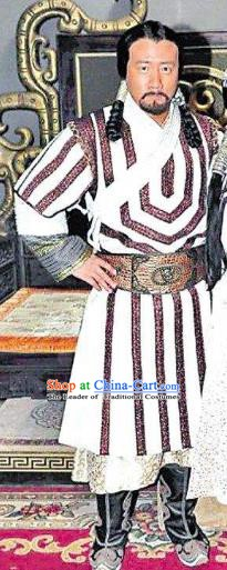 Chinese Ancient Yuan Dynasty Fifth Emperor Kublai Khan Replica Costume for Men