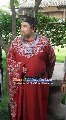 Chinese Ancient Song Dynasty Prime Minister Kou Zhun Replica Costume for Men