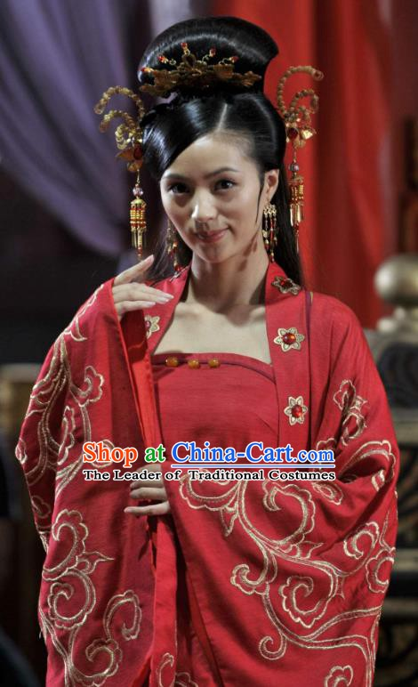 Chinese Ancient Song Dynasty Palace Princess Embroidered Wedding Replica Costume for Women