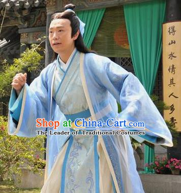 Chinese Ancient Song Dynasty Poet Scholar Replica Costume for Men