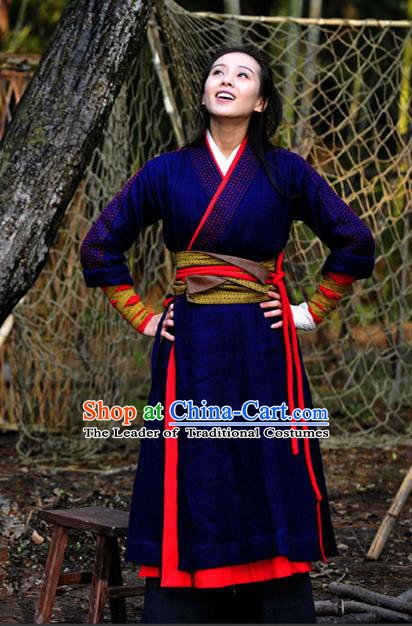 Chinese Ancient Southern Song Dynasty Female Swordsman Replica Costume for Women