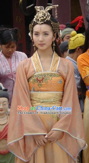 Chinese Ancient Song Dynasty Khotan Kingdom Princess Embroidered Replica Costume for Women