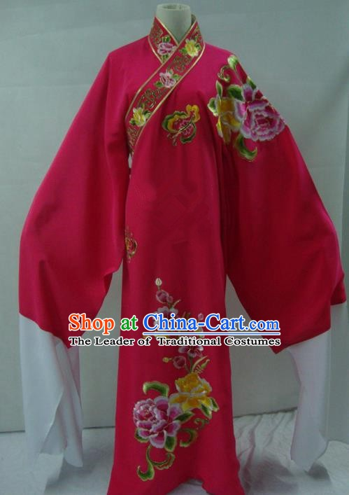 China Traditional Beijing Opera Niche Costume Embroidered Flowers Rosy Robe Chinese Peking Opera Scholar Clothing for Adults
