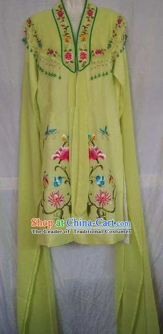 China Traditional Beijing Opera Actress Embroidered Green Cloak Chinese Peking Opera Princess Costume