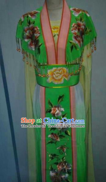 China Traditional Beijing Opera Palace Princess Embroidered Green Dress Chinese Peking Opera Actress Costume